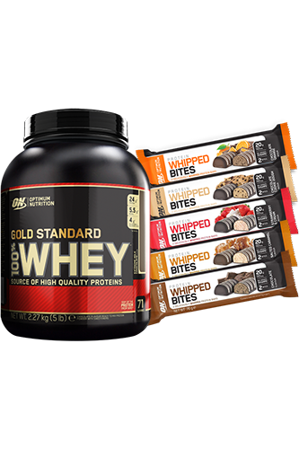 Optimum Nutrition 100% Whey Gold Standard - 2270g + 12 x 76g Whipped Bites Paket
