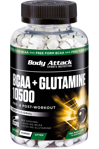 Body Attack BCAA + Glutamine 10500 - 180 Caps - Abbildung vergr��ern!