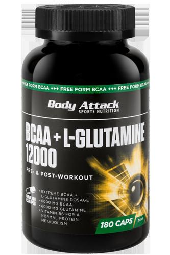 Body Attack BCAA + Glutamine 12000 - 180 Caps - Abbildung vergrößern!