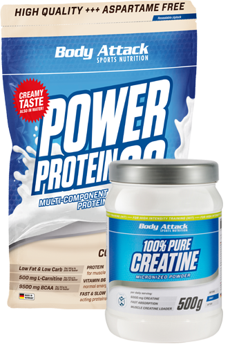 Body Attack Muskelaufbau Duo - Creatine plus Power Protein 9 - Abbildung vergrößern!