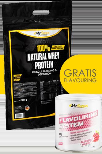 100% Natural Whey Protein 2kg + Gratis Flavouring - Abbildung vergrößern!
